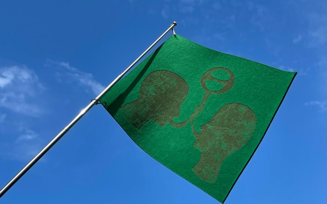 Laser cut felt flag for a universal language